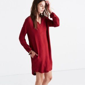 Madewell du jour 3/4 sleeve tunic dress in red